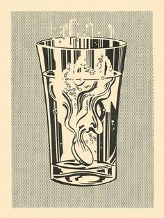 Roy Lichtenstein / Alka Seltzer / 1966 / Graphite and lithographic rubbing crayon pochoir, with scraping, on cream wove paper, fixed.