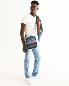 Messenger Pouch With Colorfull Abstract Stripes Mosaic Designs, Design 24, Grunge Fashion, Saddle Bags, Shoulder Strap, Overalls, Burgundy, Pouch, Stripes