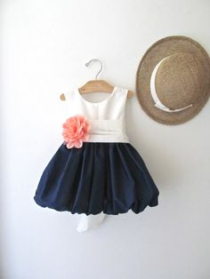 Delicate Navy and Coral Flower Girl Dress by pleasantlypeasant, $89.00