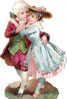 Oblaten Glanzbild scrap die cut chromo lady Kind enfant couple Paar child