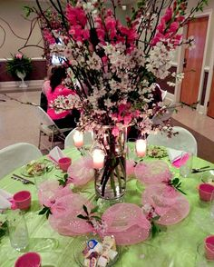 A Cherry Blossom themed Women's Ministry dinner with ideas to get more people involved. Event Themes, Event Decor, Cherry Blossom Centerpiece, Womens Ministry Events, Centerpieces, Table Decorations, Centerpiece Ideas, Welcome Table, Seasonal Celebration