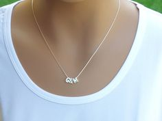 100% Sterling Silver Initial Necklace Two Initial by AlinMay