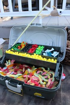 Candy Station all edible tackle/fish bait. Great idea for a Gone Fishing birthda… Candy Station all edible tackle/fish bait. Great idea for a Gone Fishing birthday party! First Birthday Parties, Boy Birthday, First Birthdays, Fish Cake Birthday, Fishing Birthday Cakes, 1st Birthday Ideas For Boys, Redneck Birthday, 90th Birthday Gifts, Birthday Candy