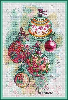 Anna Petunova - Christmas decorations-Cross stitch Communication / Download-Cross stitch Patterns Scanned-PinDIY -