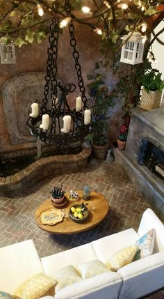 Kammys Creations Here is the Miniature Patio I have been working on for my Miniature Tuscan Roombox 1:12 . Its not finished yet...but I thought I would share what I have so far. There are many very talented artists beautiful work in here. I'll post more photos when Its complete.