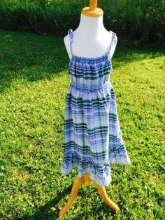 Faded-Glory-10-12-Girls-Blue-Plaid-Sundress-Eyelet-Lace-Ruffle-EUC-Dress