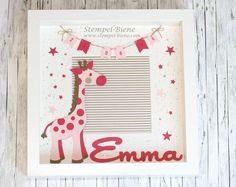 Picture frame for the birth of little Emma - taufe - Baby Diy Diy Baby Gifts, Newborn Gifts, Baby Crafts, Diy And Crafts, Baby Picture Frames, Baby Frame, Ideas Scrapbook, Baby Girl Pictures, Birth Gift