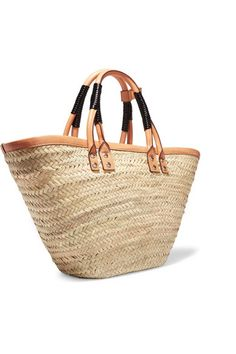Beige raffia, tan and black leather Open top Weighs approximately 4lbs/ 1.8kg Made in Italy