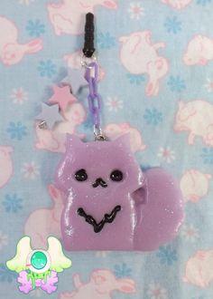Kawaii Cat Dust Plug  Phone Strap  Keychain by SammysJewels