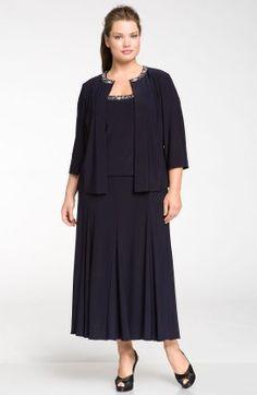 Alex Evenings Beaded Dress & Jacket (Plus Size)