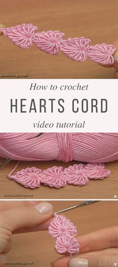 Learn To Make Hearts Crochet Cord Hearts Cord Crochet Pattern Tutorial Crochet Cord, Crochet Diy, Crochet Motifs, Crochet Flower Patterns, Crochet Stitches Patterns, Crochet Crafts, Crochet Projects, Stitch Patterns, Knitting Patterns