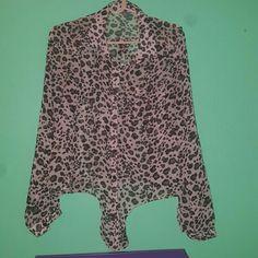 Leopard print top Leopard print sheer button down top. Charlotte Russe Tops Blouses