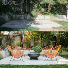 Mid Mod Patio - bunch of before and after shots