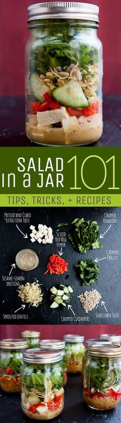 Salad in a Jar 101: Tips, Tricks and Recipes  Frugal idea, clean eating, real food, time saver!  Back To Her Roots