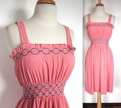Vintage 1970's Dress // 60s 70s Rosy by TrueValueVintage on Etsy