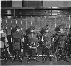 Chesapeake and Potomac Telephone Company.  View of row of operators.  View of chairs showing type of chairs used by telephone company.  via National Archives