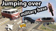 Jumping over the military base in funny random vehicles. #GrandTheftAutoV #GTAV #GTA5 #GrandTheftAuto #GTA #GTAOnline #GrandTheftAuto5 #PS4 #games