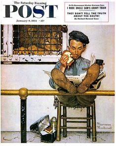 Norman Rockwell - Lion and His Keeper - Saturday Evening Post Cover, January 1954 Norman Rockwell Prints, Norman Rockwell Paintings, Peintures Norman Rockwell, The Saturdays, Saturday Evening Post, Artist Gallery, Art And Illustration, Mail Art, Oeuvre D'art