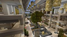 Mall / Shopping Center - Beach Town Project Minecraft Project Minecraft Shops, Minecraft Castle, Minecraft Funny, Minecraft Plans, Minecraft Games, Minecraft Creations, Minecraft Designs, Minecraft Projects, Minecraft Crafts