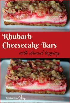 Cheesecake Bars with struesel topping -- A Pinch of Joy .Rhubarb Cheesecake Bars with struesel topping -- A Pinch of Joy .Rhubarb Cheesecake Bars with struesel topping -- A Pinch of Joy Easy, Delicious Rhubarb Cheesecake Bars in a Pan Strawberry Rhubarb Recipes, Rhubarb Desserts, Köstliche Desserts, Delicious Desserts, Dessert Recipes, Yummy Food, Rhubarb Muffins, Rhubarb Recipes Cream Cheese, Rhubarb Custard Bars