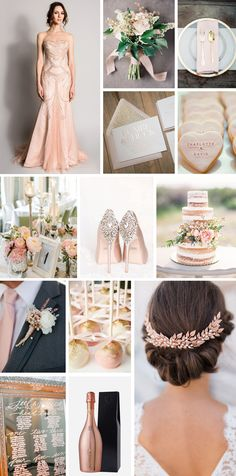This rose gold and blush wedding inspiration moodboard is inspired by a stunning wedding gown by Suzanne Neville