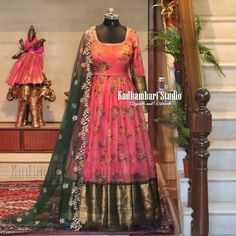 Stunning blush pink color traditional floor length dress with floral print. Dress with big gold jari boarder. Floor length dress with net dupatta. This outfit is Available at 8000 from house of Kadhambari. They can customize size as per your requirement. Silk Kurti Designs, Half Saree Designs, Sari Blouse Designs, Churidar Designs, Lehenga Designs, Blouse Styles, Indian Gowns Dresses, Indian Fashion Dresses, Indian Designer Outfits