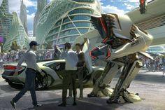 Mech vs Supercar via Patrick Faulwetter Studio. (via Patrick Faulwetter Studio) Concept Art World, Concept Cars, Cyberpunk City, Android, Robot Design, Futuristic Design, Environment Concept, Transportation Design, Costumes