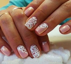 Beautiful delicate nails, Ideas of gentle nails, Lace nails, Lacy nails, Nacre… Lace Nail Art, Lace Nails, Lace Nail Design, Stiletto Nails, Nail Art Design Gallery, Best Nail Art Designs, Nails Yellow, Pink Nails, Pink Wedding Nails