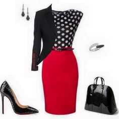 55 Super Ideas Womens Fashion For Work Professional Attire Career Polka Dots Fashion Mode, Office Fashion, Work Fashion, Business Fashion, Fashion Looks, Fashion Outfits, Womens Fashion, Business Outfits, Fashion Black