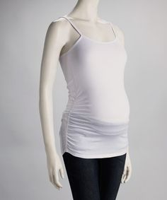 This White Ruched Maternity Camisole - Women by Oh! Mamma is perfect! #zulilyfinds