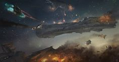 Space battle with capital ships and fighters.