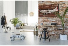 Cozy studio apartment by bialasiewicz. Cozy spacious studio apartment with brick wall Cozy Studio Apartment, Aviation Decor, Decoration Piece, Model Airplanes, Cool Walls, Brick Wall, Mustang, Wall Decor, Furniture