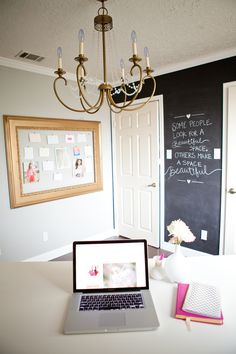 So Shay: office reveal! Adore the picture frame, spray-painted gold, maybe with a covered pin board underneath!
