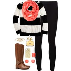 """""""Black, White, & Coral"""" by classically-preppy on Polyvore"""