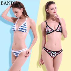 8a4a50fd57 BANDEA 2017 Women Sexy Push Up Swimwear Print Bikini Brazilian Swimsuit  Padding Bathing Suit Beachwear maillot de bain-in Bikinis Set from Sports  ...