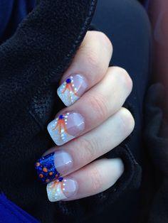 Would be cute for a tigers game! Great Nails, Cute Nails, Football Nail Art, Baseball Nails, Denver Broncos Nails, Tiger Nails, Cute Nail Designs, Holiday Nails, Halloween Nails