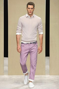 I like that the pant's purple is washed out and not a neon or a bright shade. This applies to any colored pants.