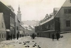 Tkalciceva street under snow in 1940. #old #Zagreb #old #pictures #oldtimes #blacknwhite #photography #CasaBlanca #18century #19century #timemachine