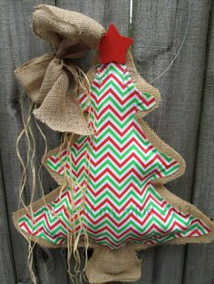 Burlap Christmas Tree Red and  Green Chevron Fabric Burlap Door Hanger on Etsy, $28.00