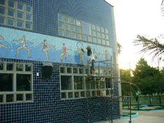 """Painel em mosaico de cerâmica """"Esportes"""" # Campinas # Clube # Circulo Militar"""