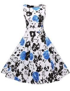 Eshion Vintage 50's Floral Print Party Swing Dress Cocktail Evening Gowns => Details can be found  : cocktail dresses