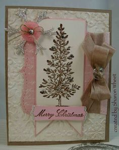 shabby chic Christmas card. Like some of the ideas here. Would make the tree green?