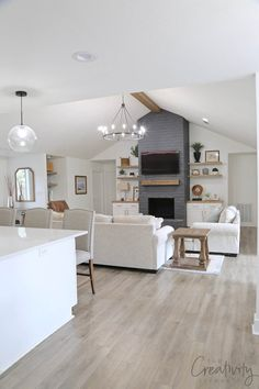 Open Kitchen And Living Room, Open Family Room, Living Room Remodel, Living Room Renovation Ideas, Living Room Windows, Living Rooms, Common Room, Living Room Flooring, Kitchen Layout