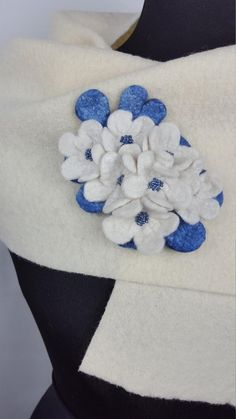 Unique white and blue brooch with flowers and seed beads, Easter gift idea for her, bride's dress decoration Easter Gift, Seed Beads, Om, Brooch, Throw Pillows, Trending Outfits, Unique Jewelry, Handmade Gifts, Flowers