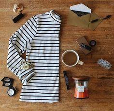A few of my favorite things (boba tea unpictured) || #flatlay #stripes #octoberfavorites