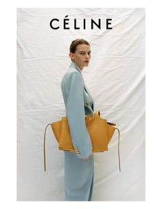 Ad Campaign: Céline Resort 2017 Model: Laura Morgan, Lena Hardt Photographer: Talia Chetrit - blue suit and yellow leather bag Design Set, Look Fashion, High Fashion, Womens Fashion, Vogue, Celine Campaign, Editorial Photography, Fashion Photography, Logos Retro