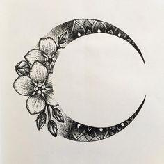 "758 Likes, 29 Comments - Lillian Elizabeth (@honeytripper) on Instagram: ""Moon design for Kim #mandalamoon #mandala #tattoodesign #tattoo #mandalatattoo #blackink…"""