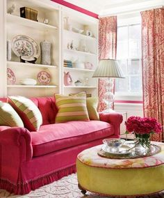 Classy Pink Sofa White Shelves Living Room Eclectic Decor Home Ideas Interior Decor - Decorstate Living Room Red, Eclectic Living Room, Eclectic Decor, Living Room Decor, Living Roon, Cottage Living, Red Cottage, Rosa Couch, Pink Couch