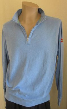 PETER MILLAR 1/2 Zip Light Blue Pullover Logo Golf 100% Cotton Sweater L Large #PeterMillar #12Zip