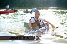cardboard box boat race - #children #camp #activity